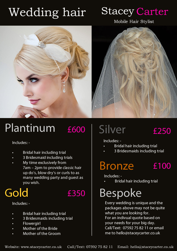 Wedding Hair Dorset Packages | Bridal hair prices | Stacey Carter